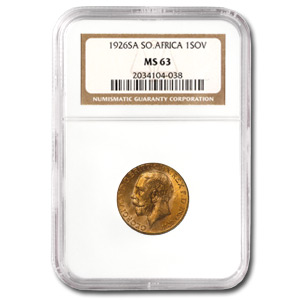 1925-1932 South Africa Gold Sovereign MS-63 NGC